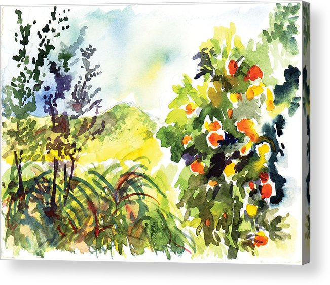 Ojai Acrylic Print featuring the painting Ojai Oranges by Lily Hymen