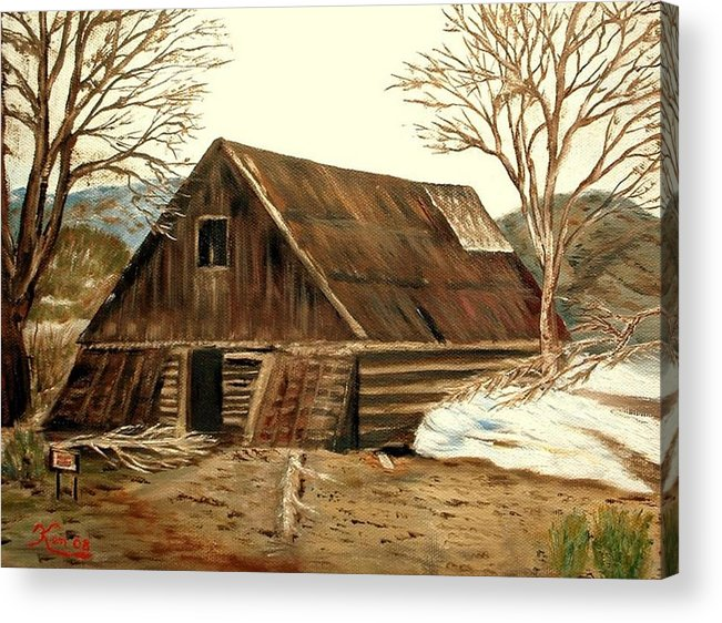 Barn Landscape Snow Acrylic Print featuring the painting Old Barn Series 1 by Kenneth LePoidevin