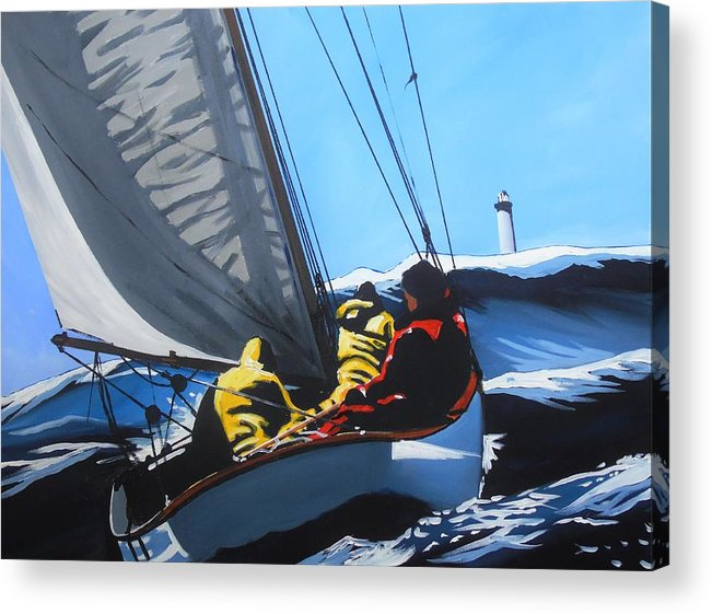 Sailing Acrylic Print featuring the painting On White Horses by Terence R Rogers