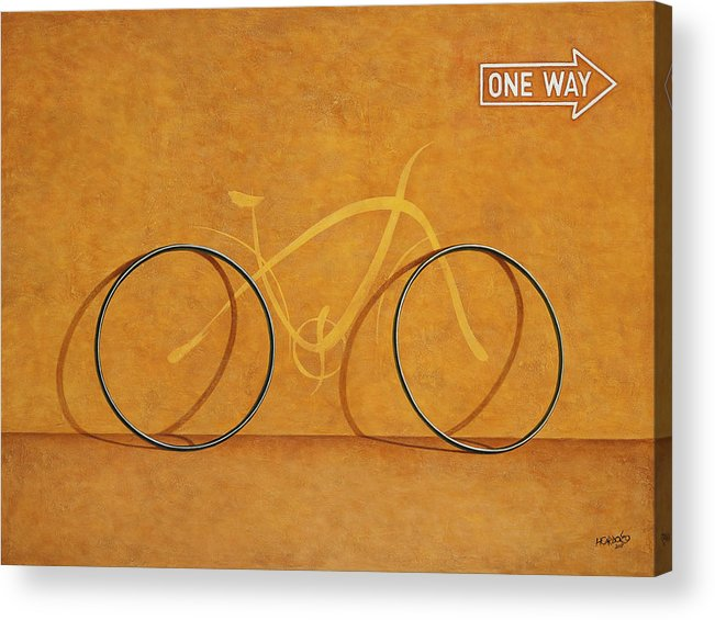 Bike Acrylic Print featuring the painting One Way by Horacio Cardozo