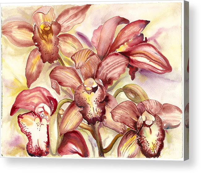 Tropical Orchids Acrylic Print featuring the painting Orchid Medley by Ileana Carreno