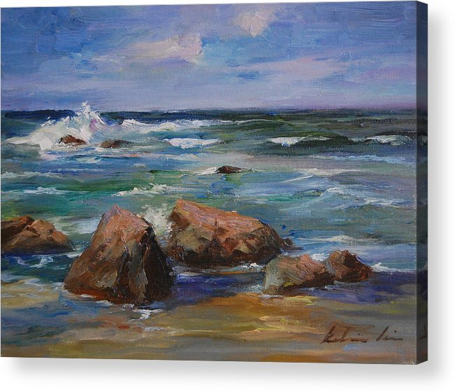 Seascape Acrylic Print featuring the painting Pacific Ocean by Kelvin Lei
