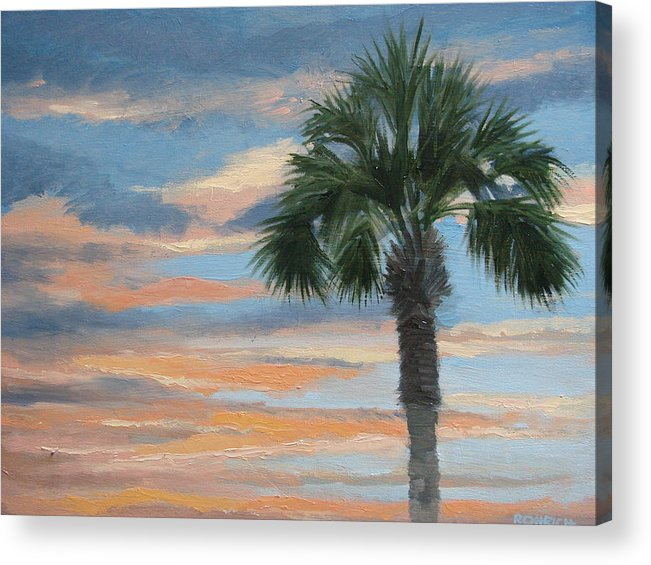 Landscape Acrylic Print featuring the painting Palm Morning by Robert Rohrich