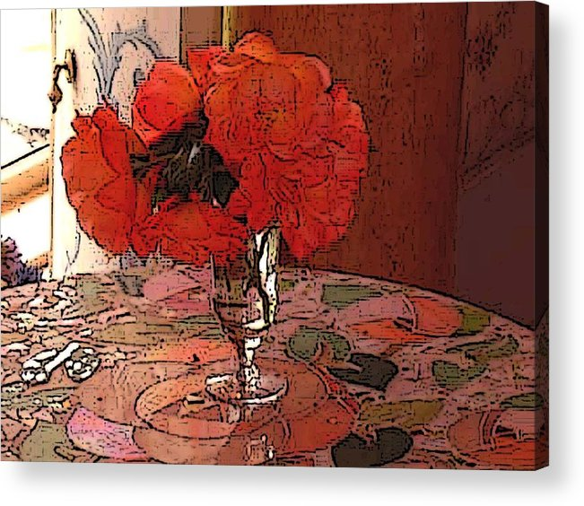 Floral Acrylic Print featuring the photograph Pansies And Mosian Table by Susan Grissom