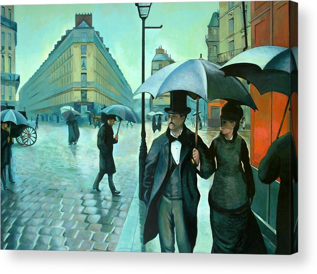 Rain Acrylic Print featuring the painting Paris Street Rainy Day by Jose Roldan Rendon