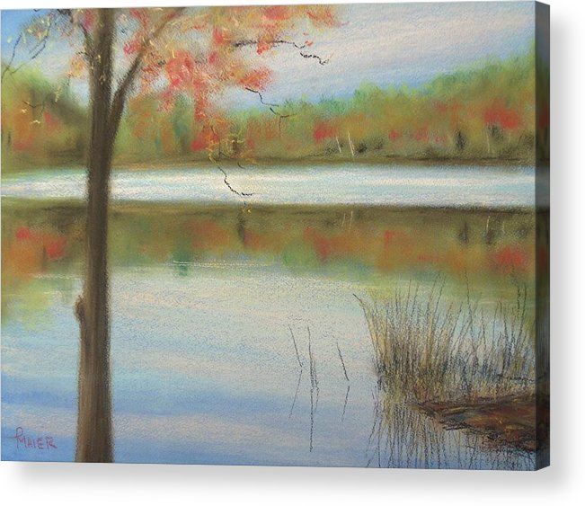 Lakescape Acrylic Print featuring the painting Pastel Lake by Pete Maier