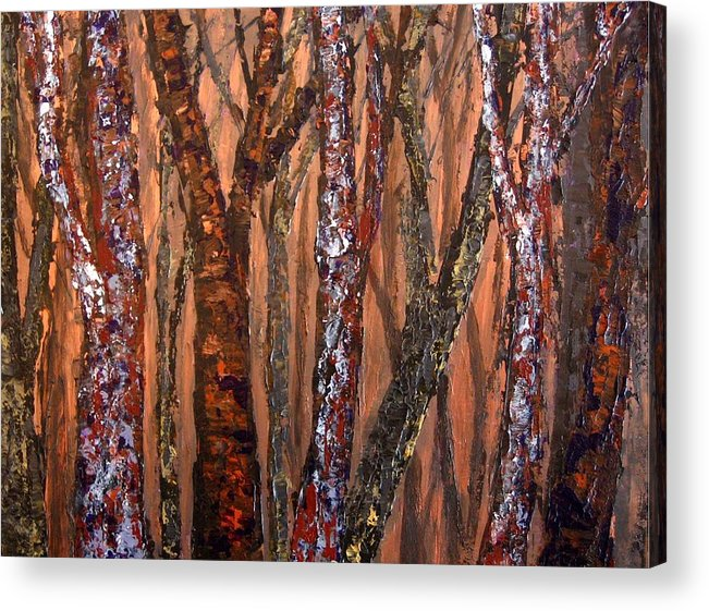 Forest Acrylic Print featuring the painting Patchwork Forest by Wanda Pepin