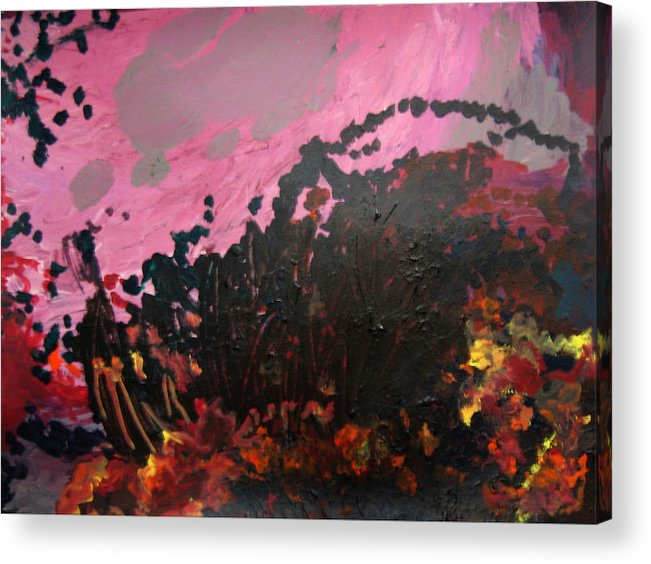 Abstract Acrylic Print featuring the painting Pink Bliss by Kitty Hansen