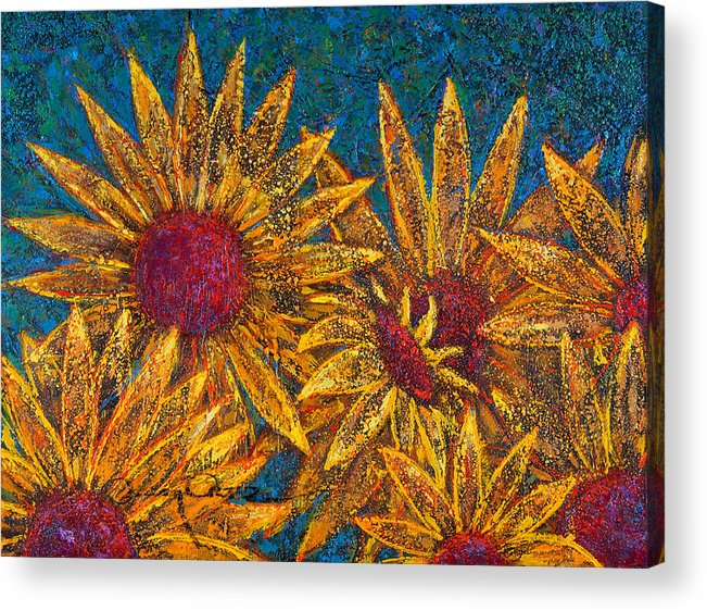 Flowers Acrylic Print featuring the painting Positivity by Oscar Ortiz