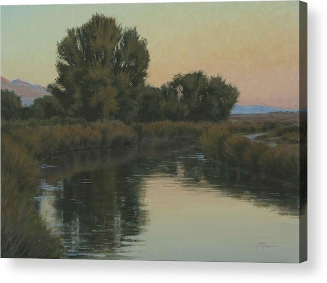 Owens River Acrylic Print featuring the painting Quiet Water Morning by Joe Mancuso