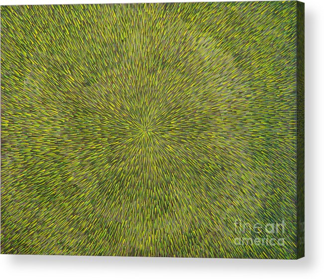 Abstract Acrylic Print featuring the painting Radiation With Green With Yellow by Dean Triolo