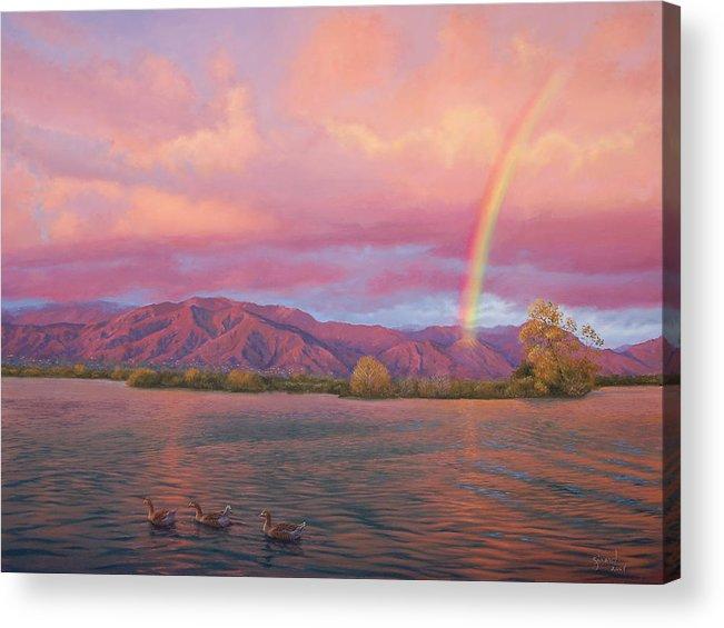 Lake Acrylic Print featuring the painting Rainbow At Sunset by Johanna Girard