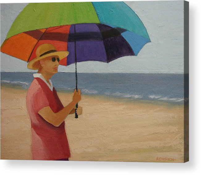 Ocean Acrylic Print featuring the painting Rainbow Umbrella by Robert Rohrich