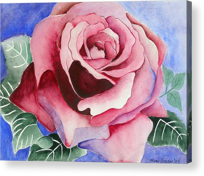 Pink Rose Acrylic Print featuring the painting Ramblin' Rose by Mary Gaines