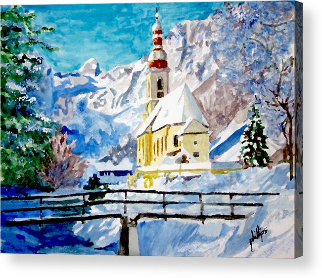 Church Acrylic Print featuring the painting Ramsau Parish by Jim Phillips