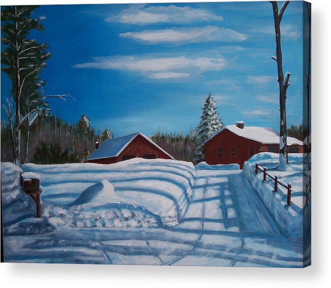 Acrylic Print featuring the painting Red House In Winter by Ron Hamilton