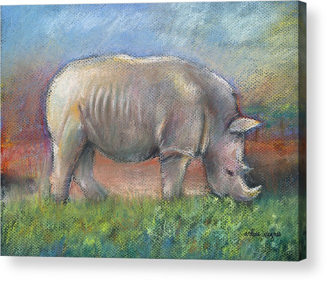 Rhino Acrylic Print featuring the pastel Rhino by Arline Wagner