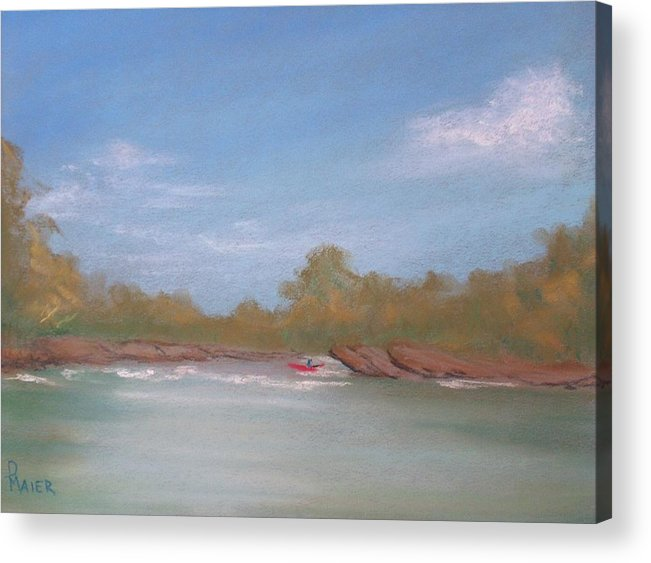 Riverscape Acrylic Print featuring the painting River Rocks by Pete Maier