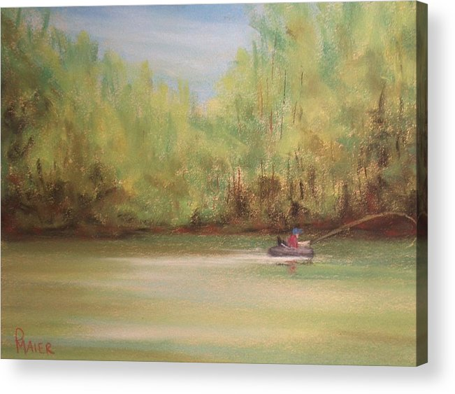 Fishing Acrylic Print featuring the painting Rivergreen by Pete Maier