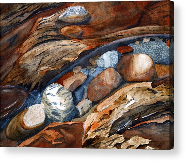 Rocks Acrylic Print featuring the painting Rocks by Julie Pflanzer