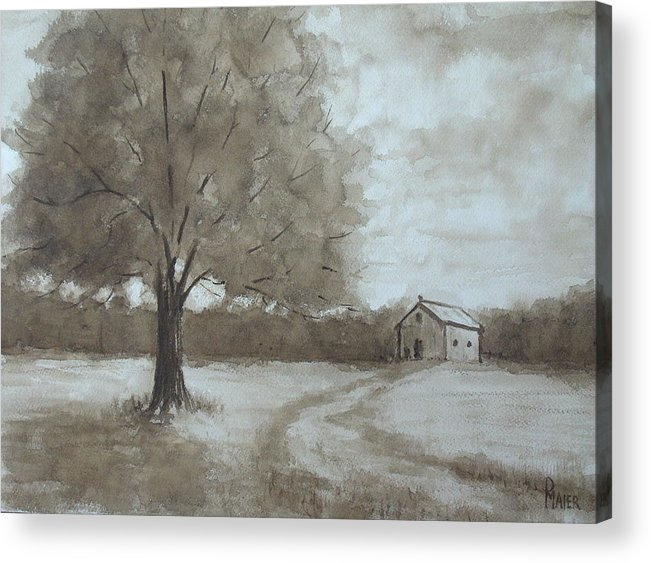 Sepia Acrylic Print featuring the painting Rustic Ridge by Pete Maier