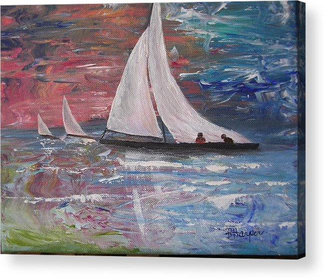 Ocean Acrylic Print featuring the painting Sailboats At Sunrise by Barbara Harper