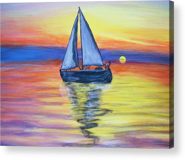 Sunset Acrylic Print featuring the painting Sailing Into The Sunset by Vickie Wooten