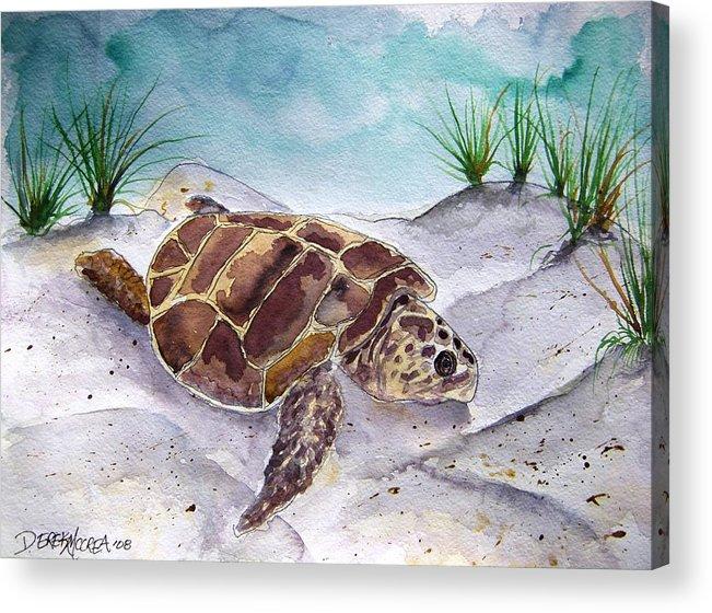 Sea Turtle Acrylic Print featuring the painting Sea Turtle 2 by Derek Mccrea
