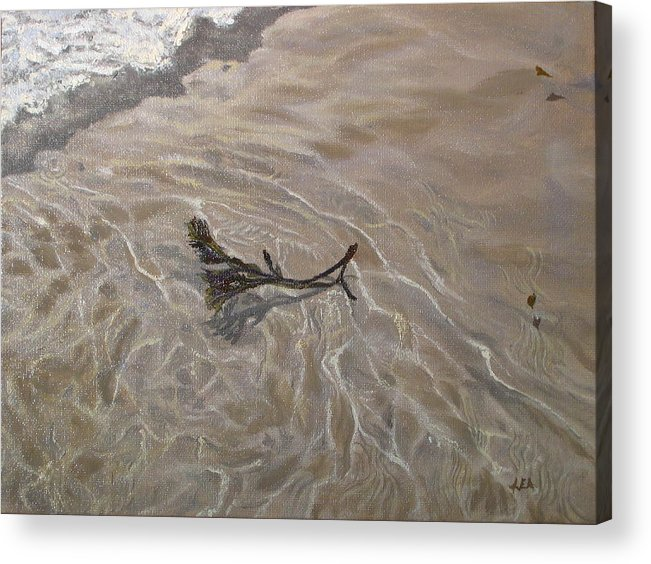 Seascape Acrylic Print featuring the painting Seashore Reflections by Lea Novak