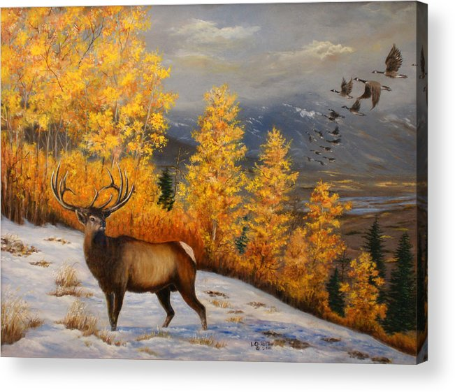 Wildlife Acrylic Print featuring the painting Selkirk Elk by Lucille Owen-Huston