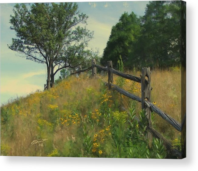 Country Rural Fence Vermont Flower Summer Painting Rail Tree Hill Goldenrod Shade Wild Sargent Oil Acrylic Print featuring the painting Shade Tree by Eddie Durrett