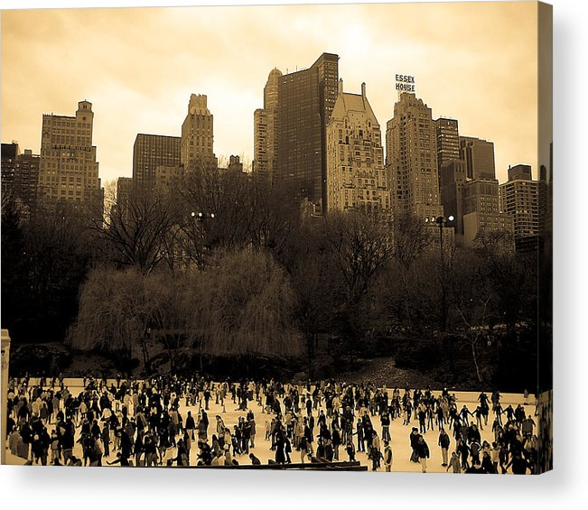 Ice Skating Acrylic Print featuring the photograph Skating Central At The Park by Joshua Francia