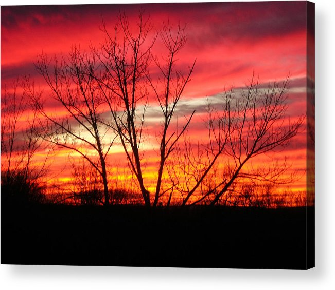 Sky Fire Acrylic Print featuring the photograph Sky Fire by Ron Moses