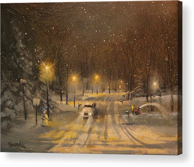 Christmas Lights Acrylic Print featuring the painting Snow For Christmas by Tom Shropshire
