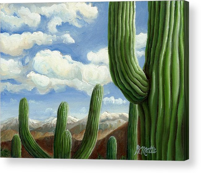 Landscape Acrylic Print featuring the painting Snow In Arizona by Gretchen Matta