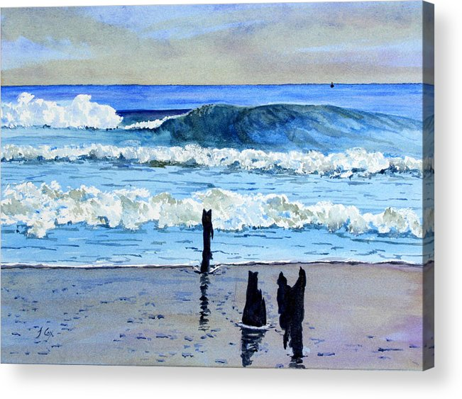 Seascape. Waves. Acrylic Print featuring the painting South Beach. by John Cox