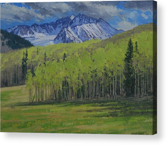 Landscape Acrylic Print featuring the painting Spring Aspen by Lanny Grant