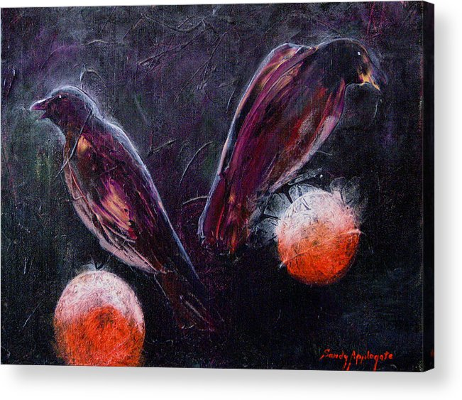 Raven Acrylic Print featuring the painting Still Is Sitting by Sandy Applegate