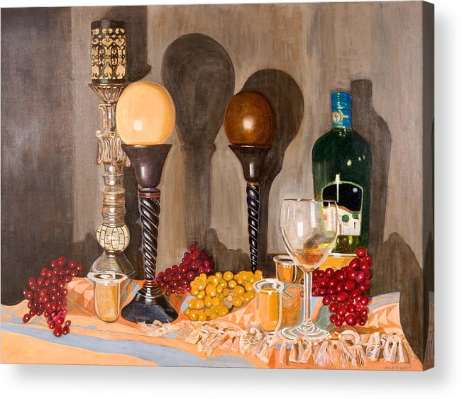 Still Life Acrylic Print featuring the painting Still Life With Orbs by Arvin Nealy