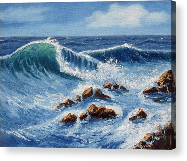 Sea Scapes Acrylic Print featuring the painting Summer At The Beach by Lorraine Foster