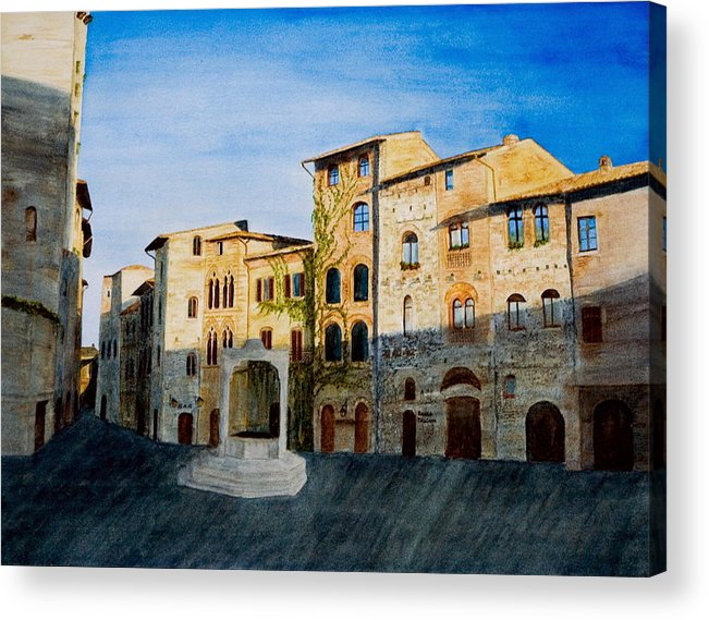 Landscape Acrylic Print featuring the painting Summer Evening In San Gimignano by Monika Degan