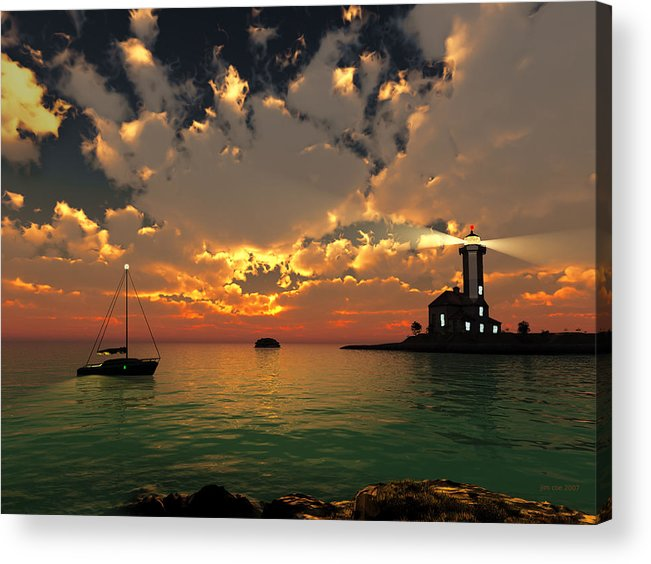 Jim Coe Acrylic Print featuring the digital art Sunset Lighthouse by Jim Coe