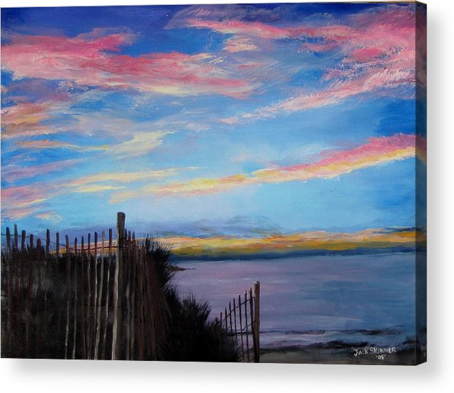 Sunset Acrylic Print featuring the painting Sunset On Cape Cod Bay by Jack Skinner