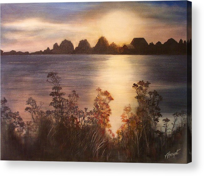 Sunset Acrylic Print featuring the painting Sunset Over Westham Island by Victoria Heryet