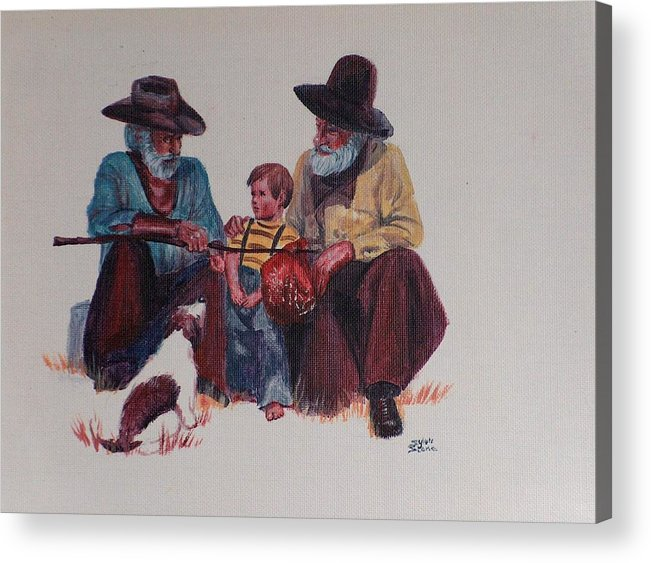 Cowboy Acrylic Print featuring the painting Tall Tails by Sylvia Stone