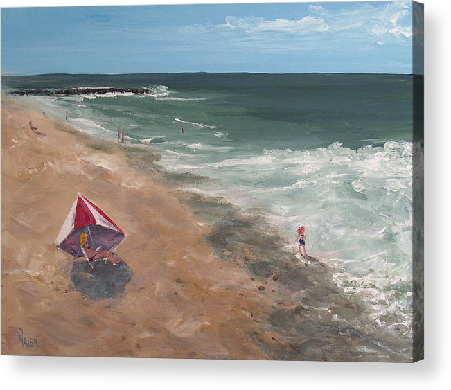 Seascape Acrylic Print featuring the painting Testing The Waters by Pete Maier