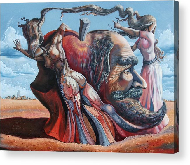 Surrealism Acrylic Print featuring the painting The Adam-eve Delusion by Darwin Leon