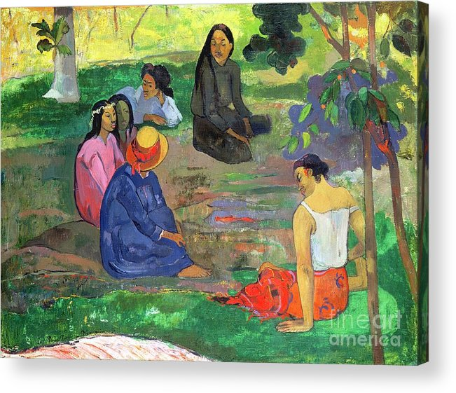 Hat; Post-impressionist; Tropical; Tahitian; Women; Sitting; Talking; Les Potins Acrylic Print featuring the painting The Gossipers by Paul Gauguin