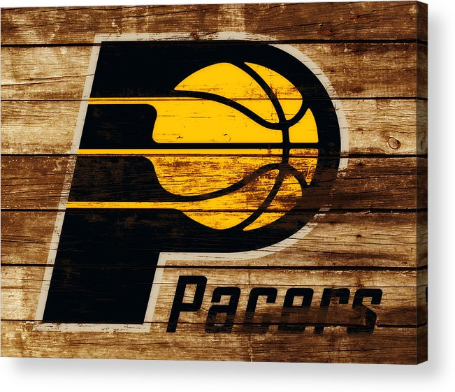 The Indiana Pacers Acrylic Print featuring the mixed media The Indiana Pacers 3c by Brian Reaves