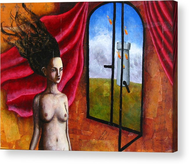 Figure Acrylic Print featuring the painting The Onset Of Calamity by Pauline Lim